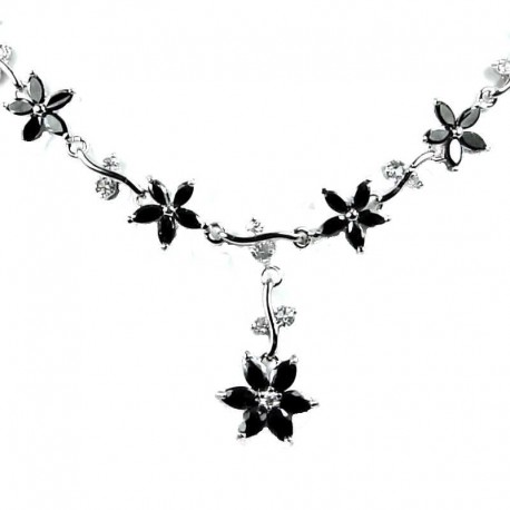 Bridal Jewellery; Black Cubic Zirconia CZ Crystal Flower Dress Necklace as Wedding Gift