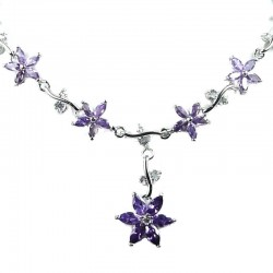 Bridal Wedding Jewellery, Purple Cubic Zirconia CZ Crystal Flower Dress Necklace
