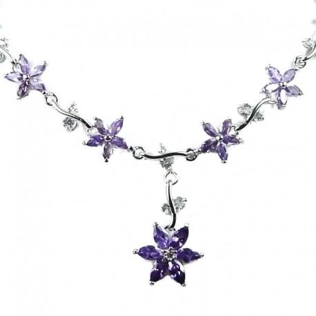 Bridal Wedding Jewellery, Purple Cubic Zirconia CZ Crystal Flower Dress Necklace