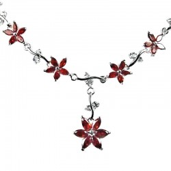 Bridal Jewellery Wedding Gift; Red Cubic Zirconia CZ Crystal Flower Dress Necklace