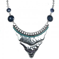 Fashion Trendy Costume Jewellery; Silver Chic Crescent Statement Necklace