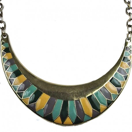 Edgy Costume Jewellery, Fashion Egyptian Aztec Antique Gold Crescent Moon Necklace