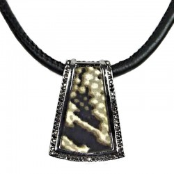 Costume Jewellery Animal Print Antique Silver Trapezium Pendant Black Cord Necklace
