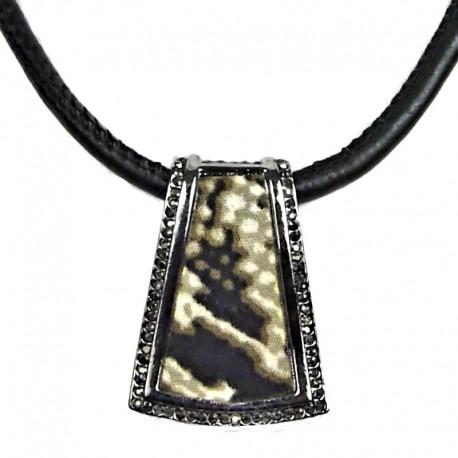 Costume Jewellery Animal Print Antique Silver Trapezium Pendant Black Cord Necklace