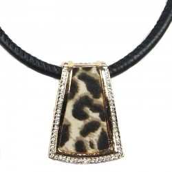 Costume Jewellery, Fashion Animal Print Rose Gold Trapezium Pendant Black Cord Necklace