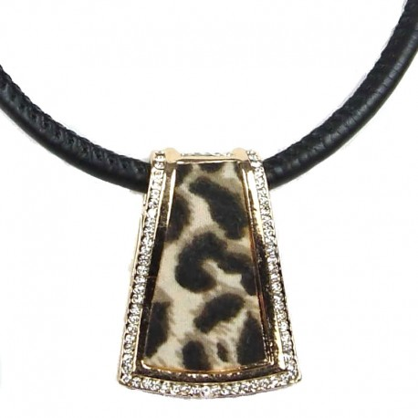 Costume Jewellery, Fashion Animal Print Rose Gold Trapezium Pendant Black Cord Necklace