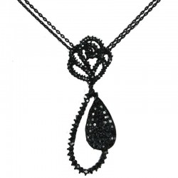 Dressy Costume Jewellery, Fashion Black Diamante Rose Teardrop Chic Necklace