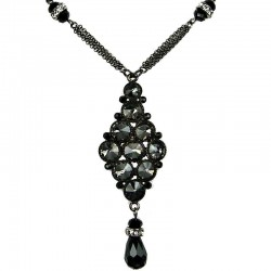 Black Diamante Rhombus Teardrop Chic Necklace