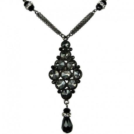 Dressy Costume Jewellery, Fashion Black Diamante Rhombus Teardrop Chic Necklace