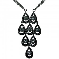 Black Diamante Grey Rhinestone Teardrops Dressy Necklace