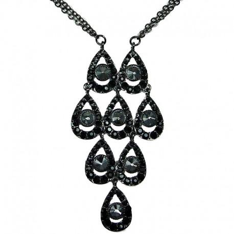 Dressy Costume Jewellery, Fashion Chic Black Diamante Grey Rhinestone Teardrops Dressy Necklace