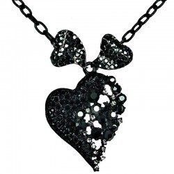 Black Diamante Chic Triple Heart Dressy Necklace