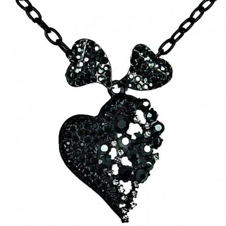Bib Costume Jewellery, Bling Fashion Black Diamante Chic Triple Heart Dressy Necklace