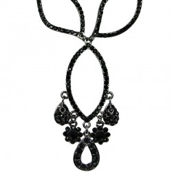 Black Diamante Triple Open Teardrop Dressy Drop Necklace