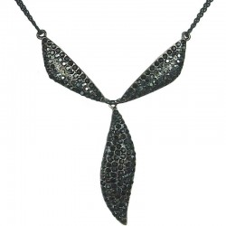 Black Diamante Triangle Teardrop Dressy Y-shaped Necklace