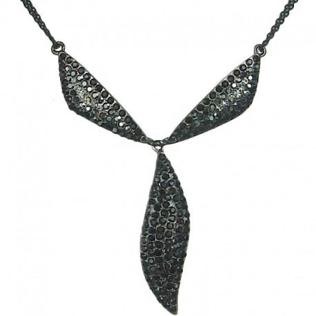Chic Costume Jewellery, Fashion Black Diamante Triangle Teardrop Dressy Y-shaped Necklace
