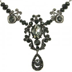 Bib Costume Jewellery, Fashion Grey Oval Rhinestone Black Diamante Dressy Teardrop Drop Statement Necklace