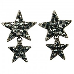 Haematite Diamante Pave Double Star Drop Earrings
