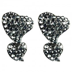 Haematite Diamante Pave Double Heart Drop Earrings