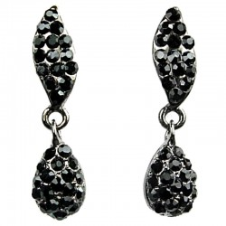 Bib Costume Jewellery, Chic Black Diamante Pave Teardrop Dainty Drop Fashion Earrings