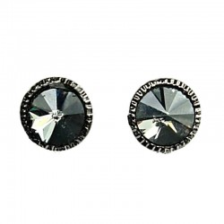 Smokey Grey Round Rhinestone Stud Earrings