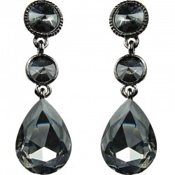 Smokey Grey Teardrop Rhinestone Drop Earrings