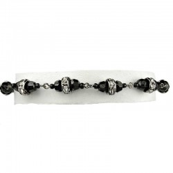 Simple Costume Jewellery, Clear Diamante Black Bead Fashion Bracelet