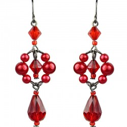 Chic Fashion Jewellery, Red Teardrop Dancing Beaded Costume Drop Earrings