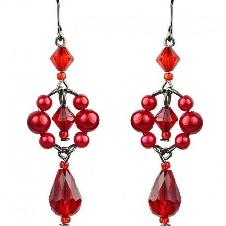 Chic Fashion Jewellery, Red Teardrop Dancing Beaded Costume Drop Earrings