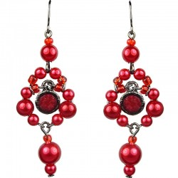 Red Rhinestone Bead Pearl Drop Earrings