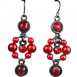Dangling Red Round Rhinestone Bead Pearl Drop Earrings