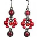 Dangling Red Round Rhinestone Bead Pearl Drop Earrings