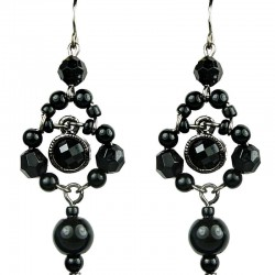 Black Rhinestone Bead Pearl Drop Earrings