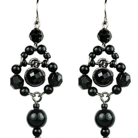 Chic Costume Jewellery, Black Rhinestone Bead Fashion Pearl Drop Earrings