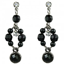 Dangling Black Round Rhinestone Bead Pearl Drop Earrings