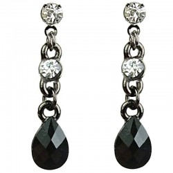 Chic Fashion Jewellery, Black Pear Shape Teardrop Rhinestone Clear Diamante Costume Dainty Drop Earrings