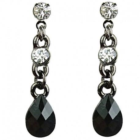Chic Fashion Jewellery, Black Pear Shape Teardrop Rhinestone Clear Diamante Costume Dainty Drop Earrings