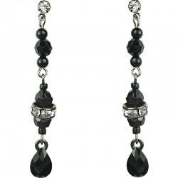 Black Pear Shape Teardrop Rhinestone Long Linear Bead Drop Earrings