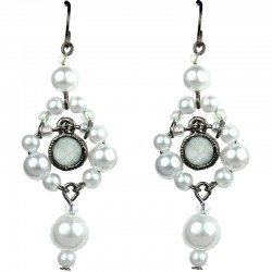 White Rhinestone Bead Pearl Drop Earrings