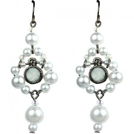 Chic Fashion Jewellery, White Rhinestone Bead Costume Pearl Drop Earrings