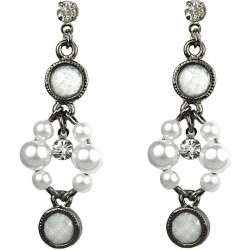 Dangling White Round Rhinestone Bead Pearl Drop Earrings