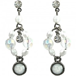 Dangling White Round Rhinestone Bead Drop Earrings