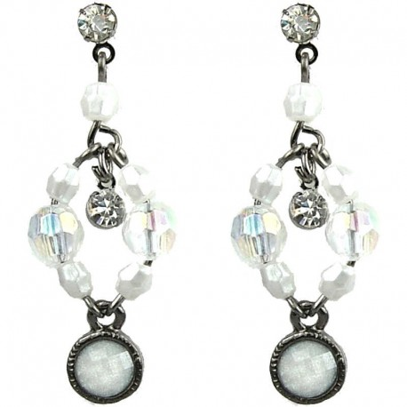 Chic Fashion Jewellery, Dangling White Round Rhinestone Bead Costume Drop Earrings