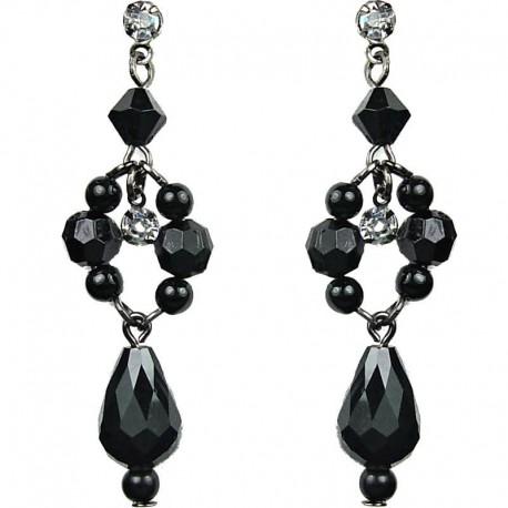 Chic Fashion Jewellery, Dangling Black Teardrop Bead Pearl Costume Drop Earrings