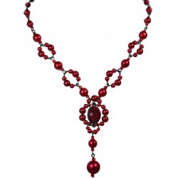 Chic Costume Jewellery, Red Oval Rhinestone Bead Fashion Pearl Y-shaped Necklace