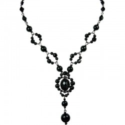 Chic Costume Jewellery, Black Oval Rhinestone Bead Fashion Pearl Y-shaped Necklace