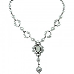 White Oval Rhinestone Bead Fashion Pearl Y-shaped Necklace