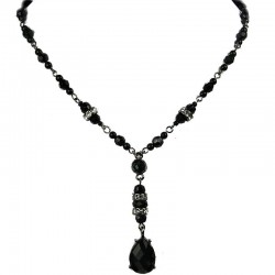 Black Teardrop Rhinestone Drop Fashion Bead Dressy Y-shaped Necklace