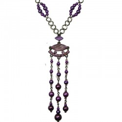 Costume Jewellery, Fashion Purple Teardrop Rhinestone Faux Pearl Long Drop Long Necklace