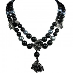 Costume Jewellery, Glamour Black Teardrop Rhinestone Multi Style Fashion Pearl Dressy Necklace
